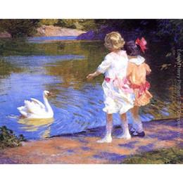 pinturas a óleo de cisnes Desconto Edward Henry Potthast pinturas O Cisne modernas paisagens óleo sobre tela Handmade art Gift