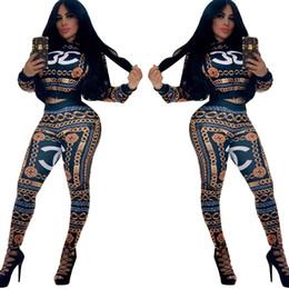 Canada Navire gratuit 2019 nouvelles femmes mode d'impression Zipper Neck survêtement Casual veste de baseball mince et pantalon ensemble tenues féminines Offre