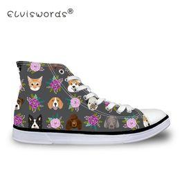 2019 sapatas de lona do gato ELVISWORDS Cães e Gatos Imprimir Alta Top Sapata de Lona Mulheres Flats Moda Feminina Vulcanizar Sapatos para Adolescente Meninas Lace-up Zapato sapatas de lona do gato barato