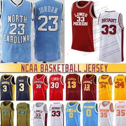 Camisetas de baloncesto 33 online-Hombres 33 Bryant James NCAA Dwyane Wade Jersey 23 Michael Iverson baloncesto de la universidad de New Harden Dennis