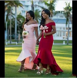 Простые Красные Розовые Атласные Платья Невесты Русалки Африканский Off Shouder Длинные Старинные Свадебные Гость Платья Арабский Maid Of Honor Dress от