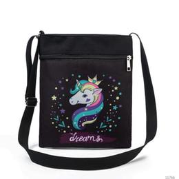 2019 disegni del sacchetto del telefono delle cellule Unicorn Printed Canvas Borsello in 3D design Messenger Shoulder Bag borsa del portafoglio telefono cellulare Custodia Shopping Tote disegni del sacchetto del telefono delle cellule economici