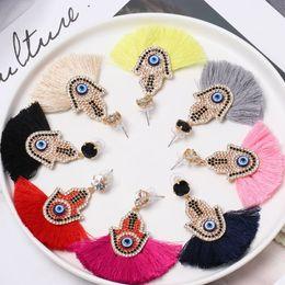 Etnik Vintage pembe Uzun Püskül Hoop nazar Küpe Kadın Maxi Ipek Konu Bohemian Küpe tasarımcı küpe lüks tasarımcı takı cheap evil earrings nereden kötü küpeler tedarikçiler