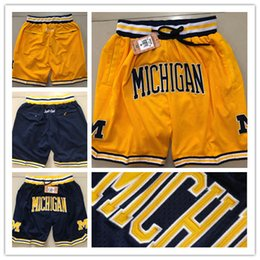 2019 pantalon sport hip hop NCAA Hip Hop Motion Wind Michigan Shorts Short de basketball Stripe Netw Porter Léger et respirant Sports Pantalon simple de sport Wolverines Shorts pantalon sport hip hop pas cher