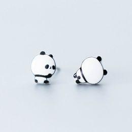 Boucles d'oreilles panda en Ligne-Jolies boucles d'oreilles en argent massif avec panda asymétrique 925
