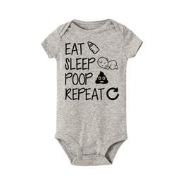 детские комбинезоны Скидка Eat Sleep Poop Repeat Baby Боди Новорожденных девочек Мальчик с коротким рукавом Смешные хлопчатобумажные боди Комбинезон Экипировка Одежда Baby