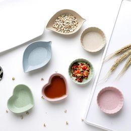 Salsa stagionale online-4PCS / SET condimento piatto Piatto Spuntino Bowl Degrado paglia di grano aceto sale salsa di soia piattino Condimento Container