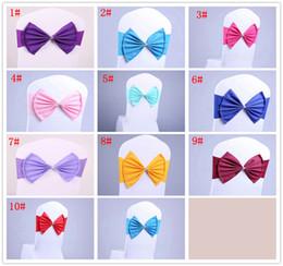 Stuhl krawatten online-10styles Bowknot Sashes Elastic Organza Chair Covers Band Wedding Bow Tie Backs Spandex diamond Chairs Sash Buckles Back Hostel Trim FFA3078
