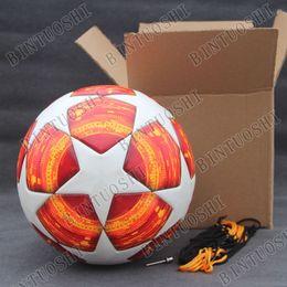 2018 2019 Liga de Campeones Balón de fútbol Rojo PU de alta calidad pasta  sin costuras balón de fútbol de piel Bleu Tamaño 5 5c8836cd35ebc