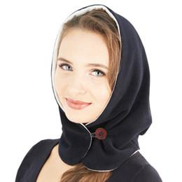 pulsanti a colori Sconti Outdoor Winter Warm berretto doppio per le donne Doppio spessore Full Face Mask Winter Neck Solid Plus berretto con cappuccio con sciarpa