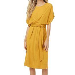 vestido amarillo con tiras Rebajas Vestido de verano 2019 Mujeres Casual Color Sólido Largo O-cuello Vestido de Tiras de Manga Corta Amarillo Sexy Clun vendaje vestidos