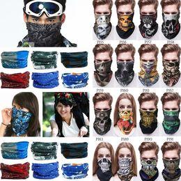 Несколько магия оголовье онлайн-Новый открытый маски многофункциональный головной платок легко оголовье шарф банданы велоспорт маски скелет волшебный шарф партии маски I495