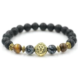 natural beaded linked chain Coupons - Natural Stone Beads Lion Lava Beaded Bracelet Women Men Yoga Jewelry