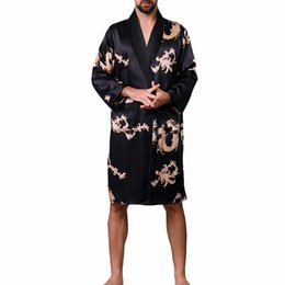 Men Chinese Style Dragon Sleep Robes 2019 New Plus Size Long Bathrobe Brand Faux Silk Long Male Sleep Robes 5xl Sleepwear Matching In Colour Robes