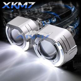 quadratische led-scheinwerfer Rabatt Sport Square LED Angel Eyes Haloringe DRL HID Bixenon Scheinwerfer Projektor Linse H1 H4 H7 Xenon Linsen 2,5 '' Auto / Motorrad Retro