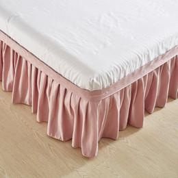 2019 cobertor de coberta contornado Saia de cama elástica de poliéster cor sólida sem envoltório de superfície de cama em torno de plissado Saia de colcha de avental fácil ajuste