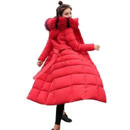 Giacche invernali con cappuccio in pelliccia online-Winter Jacket Women 2018 New Casual giacche lunghe Big collo di pelliccia con cappuccio Outwear Parka Slim Women Cappotto invernale chamarras de mujer