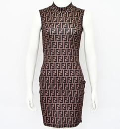 Dessins de robes serrées en Ligne-La dernière conception robe sexy serrée robe de haute qualité gilet sans manches robe de marque F livraison gratuite