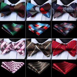 Homens Verifique Xadrez 100% Laços De Seda Jacquard Tecidos Homens Borboleta Auto Bow Tie BowTie Bolso Quadrado Lenço Hanky Suit Set de Fornecedores de arco musical