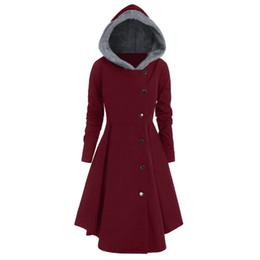 асимметричные пальто для женщин Скидка Женщины плюс размер асимметричный флис с капюшоном однобортный длинные драп кнопки пальто Пальто свободные верхняя одежда зима женщина пальто