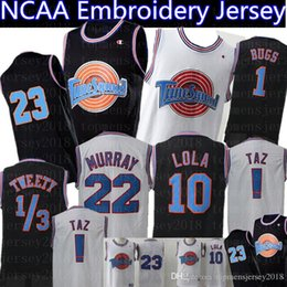 Camisa preta 23 on-line-Space Jam Jersey 23 Michael 1 Bugs Bunny 2 Daffy Duck 10 Lola Bunny 13 Tweety 22 Bill Murray Basketball Jerseys Black White