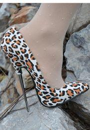 2019 scarpe bianche 16cm White Leopard Shallow 16cm Heel Scarpe da donna Metallic Heel Plus Size Scarpe Super High Club Slip-on Lady Tacchi a spillo sconti scarpe bianche 16cm