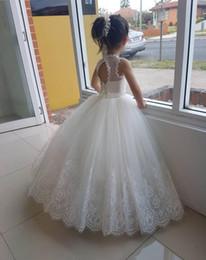 vestido de princesa bowknot sash Desconto Marfim Flor Meninas Vestidos de Renda Meninas Vestido de Festa de Casamento vestido de Baile Plissados de Verão de Tule com Lace Applique Lace-up voltar