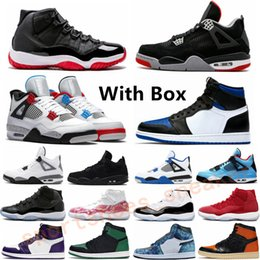 sapatos roxos reais Desconto New Black Cat 4s Bred 11 11S Space Jam Mens Basketball Shoes What The White Cement Concord 45 Gamma Blue Sports Sneakers