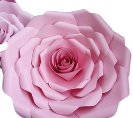 Décorations de mariage en papier en Ligne-Nouvelle Creative Mariage Cérémonie Décoration Rose Affichage 3D Fenêtre Manuel Fleurs Épaississement Carton Papier Fleur Multi Couleur