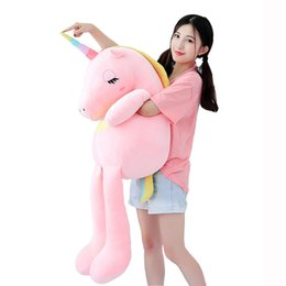 Soft Large Unicorn Plush Toy Animal Stuffed Toy Baby Cute Unicorn Accompany Doll Kids Sleeping Pillow Cushion Xmas Gift cheap large animal pillows kids de Fornecedores de travesseiros de animais grandes crianças