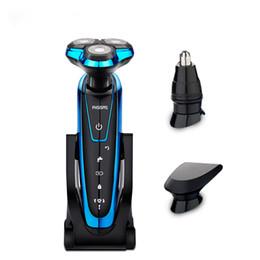 Hombres de cara seca online-Maquinilla de afeitar eléctrica para hombres Nariz Recortadora de cabello Cepillo de limpieza facial Impermeable, húmedo y seco 4D Máquina de afeitar recargable 4 en 1