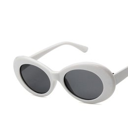 Fahion glasses онлайн-2019 горячая нирвана курт кобейн солнцезащитные очки женщины мужчины fahion женские мужские солнцезащитные очки овальные очки uv400 черный белый оптовая цена