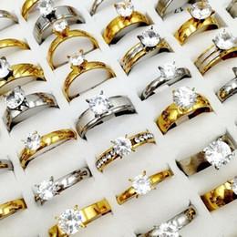 2019 anello di fidanzamento stile coreano Anelli di strass di cristallo di zircon di stile di 50pcs / lot di modo mescolano il regalo dei monili del partito della fascia d'acciaio di titanio dell'acciaio inossidabile di stile della miscela