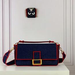 bolsa de ombro azul escuro denim Desconto Best selling designer bolsas de luxo sacos de ombro fivela magnética abertura alça destacável azul escuro de algodão denim mulheres flap bag