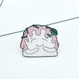 Mochila rosa-verde on-line-Alta Qualidade Dos Desenhos Animados Bonito Rosa Hair Girl Crachá Broche Flor Verde Hairpin Camisa Mochila Jóias Emblema Broche