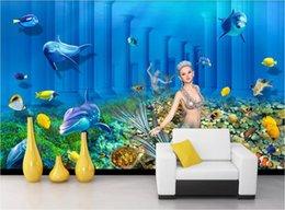 2019 fonds de palais 3D papier peint personnalisé photo murale Underwater World Mermaid Underground Palace 3D fond peinture murale toile photos fonds de palais pas cher
