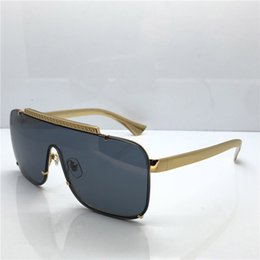 luxury eyewear brands Promo Codes - Luxury medusa sunglasses 2161 oversized metal square frame mens brand designer glasses Gold plated material anti-UV400 lens eyewear with box