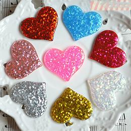 Imanes del corazón online-niñas el amor del corazón de lentejuelas hairclip accesorios de bricolaje artesanal Imán resina de material de resina pequeña horquilla chica