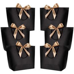 2019 bolsas de yute hechas a mano 10pcs gran tamaño de embalaje caja de regalo de oro de la manija de papel de regalo bolsas de papel de Kraft con las manijas favor Baby Shower fiesta de cumpleaños de boda