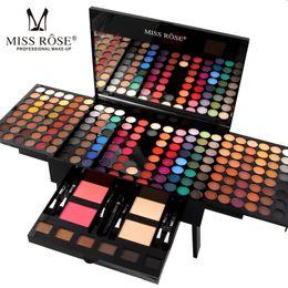 Полная палитра для теней онлайн-MISS ROSE Professional Full  Palette Sets for Women Lip Face Eyes Eyeshadow Powder Lipstick Brand Make Up Sets Palette