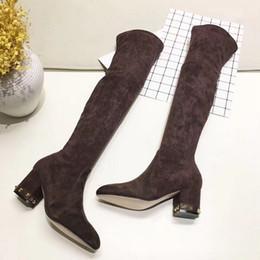 Bota de sapatos de seda on-line-Melhor designer de moda de alta camurça de seda camurça sobre as botas de joelho preto café champanhe cor azul azul slim festa com botas de salto grosso