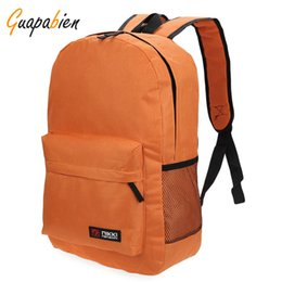 wholesale solid color backpacks Promo Codes - Wholesale- Guapabien High Quality 7 Color Solid Women Men Backpack Campus Backpacks Zipper Oxford Portable Unisex School Bags Teenagers