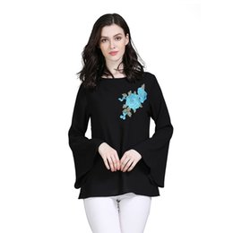 турецкая одежда Скидка Turkish Islamic Clothing Muslim Tops Blouse Middle East Saudi Arabia Top Clothes Long Flare Sleeve Women Floral Embroidery Shirt