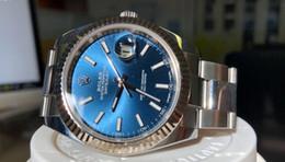 Taucheruhr saphir online-2019 hochwertige Luxusuhr Herren Automatik mechanische Tauchsportuhr Saphir Herren Herrenuhren blaues Zifferblatt Armbanduhr Reloj 126334