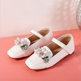 Kids Girls Formal Pearl Flower Party Single Wedding Dress Shoes Soft Soles Shoes