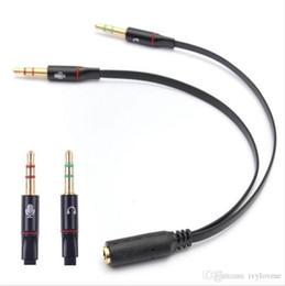 2019 enchufes de banana envío gratis 3.5mm 1 hembra a 2 auriculares macho Auriculares Cable de audio Adaptador divisor de micrófono Cable conectado a PC portátil