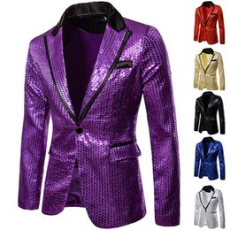 giacca da uomo di moda Sconti Tute paillettes abiti Nightclub Menswear Host Cerimoniale Studio Suits Jacket 2020 Nuovo Casual Fashion Party del cappotto del rivestimento
