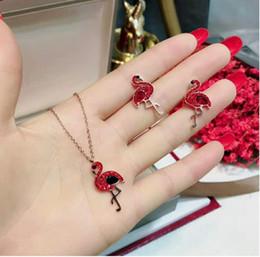 anel de esmeralda africano Desconto Europeus e Americanos moda nova boa sorte titanium aço jóias Personalizado flamingo colar pulseira brincos conjunto não se desvanece