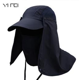 máscara de sombrero de sol de hombres Rebajas 2018 Pescador hombres al aire libre sombrero del verano Profesional sombreros de Sun Protection Cap cuello de las mujeres de la cara de la aleta protector solar sombrero de Sun Máscara Cap