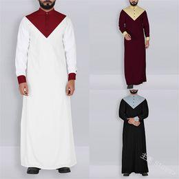 2019 edles königliches kleid S-5XL Man Muslim Kleidung Saudi Arabisch Türkisch Kaftan Robe Patchwork Stehkragen Jubba Thobe islamische traditionelle Abaya